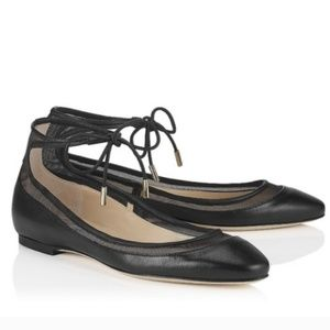 Jimmy Choo Tyler Black Ballet Flats with Ties